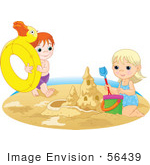 #56439 Royalty-Free (Rf) Clip Art Illustration Of A Brother And Sister Playing With An Innertube And Making A Sand Castle On A Beach