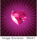 #56441 Royalty-Free (Rf) Clip Art Illustration Of A Pink Gem Heart On A Purple Burst Background With Sparkles