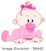#56442 Clip Art Illustration Of A Baby Girl In A Sleeper Sucking In A Pacifier And Trying To Crawl