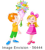 #56444 Clip Art Illustration Of A Red Haired Boy Holding A Flower Bouquet Over A Little Girl