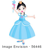 #56446 Royalty-Free (Rf) Clip Art Illustration Of A Pretty Princess Girl In A Blue Dress