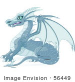 #56449 Royalty-Free (Rf) Clip Art Illustration Of A Blue Ice Dragon With Sharp Wings And Teeth