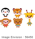 #56450 Royalty-Free (RF) Clip Art Illustration Of A Digital Collage Of Cute Animals With Big Heads; Penguin, Tiger, Monkey, Bear And Giraffe by pushkin