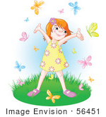 #56451 Royalty-Free (Rf) Clip Art Illustration Of A Carefree Little Girl Holding Her Arms Up While Being Circled By Butterflies