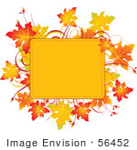 #56452 Royalty-Free (Rf) Clip Art Illustration Of A Yellow Text Box Framed With Colorful Autumn Leaves