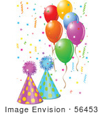 #56453 Royalty-Free (Rf) Clip Art Illustration Of Colorful Balloons Confetti And Party Hats