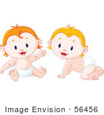 #56456 Royalty-Free (Rf) Clip Art Illustration Of A Digital Collage Of Blond And Strawberry Blond Babies In Diapers