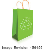 #56459 Royalty-Free (Rf) Clip Art Illustration Of A Recycle Arrow Icon On A Green Shopping Bag