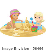 #56466 Royalty-Free (Rf) Clip Art Illustration Of Two Sisters Building A Sand Castle On A Beach