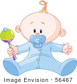 #56467 Royalty-Free (Rf) Clip Art Illustration Of A Baby Boy Playing With A Rattle