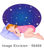 #56469 Clip Art Illustration Of A Tired Little Girl In Her Pajamas Sleeping At Night
