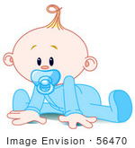 #56470 Clip Art Illustration Of A Baby Boy In A Sleeper Sucking In A Pacifier And Trying To Crawl
