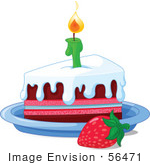 #56471 Royalty-Free (Rf) Clip Art Illustration Of A Strawberry By A Frosted Birthday Cake Slice And A Lit Candle