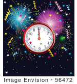 #56472 Royalty-Free (Rf) Clip Art Illustration Of A New Year Clock At Midnight Surrounded By Colorful Fireworks And Confetti Over Navy Blue
