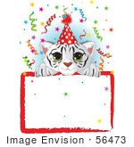 #56473 Royalty-Free (Rf) Clip Art Illustration Of A Adorable White Tiger Cub Wearing A Party Hat Looking Over A Blank Starry Sign With Colorful Confetti