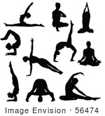 #56474 Royalty-Free (Rf) Clip Art Illustration Of A Digital Collage Of Black Yoga People Silhouettes