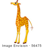 #56475 Royalty-Free (RF) Clip Art Illustration Of A Tall Female Giraffe With Long Eyelashes by pushkin