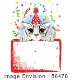 #56476 Royalty-Free (Rf) Clip Art Illustration Of A Cute White Tiger Wearing A Party Hat And Looking Over A Blank Snowflake Sign With Confetti