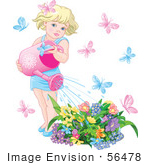 #56478 Royalty-Free (Rf) Clip Art Illustration Of A Little Blond Girl Surrounded By Butterflies Watering Her Flower Garden