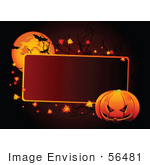 #56481 Royalty-Free (Rf) Clip Art Illustration Of A Red Halloween Text Box With A Pumpkin Leaves And Bats By A Full Moon