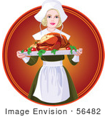 #56482 Royalty-Free (Rf) Clip Art Illustration Of A Beautiful Blond Pilgrim Serving A Thanksgiving Turkey