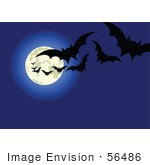 #56486 Royalty-Free (Rf) Clip Art Illustration Of Fluttering Vampire Bats Silhouetted Against A Blue Full Moon Night Sky
