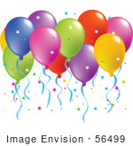 #56499 Royalty-Free (Rf) Clip Art Illustration Of A Colorful Group Of Balloons Floating With Confetti