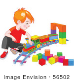 #56502 Royalty-Free (RF) Clip Art Illustration Of A Red Haired Boy Playing With A Toy Train by pushkin