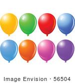 #56504 Royalty-Free (Rf) Clip Art Illustration Of A Digital Collage Of Colorful Balloons Floating