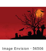#56506 Royalty-Free (Rf) Clip Art Illustration Of A Spooky Full Moon Dead Tree Bat And Graveyard Halloween Background