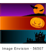 #56507 Royalty-Free (Rf) Clip Art Illustration Of A Digital Collage Of Horizontal Halloween Bat Pumpkin And Haunted House Banners