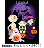 #56509 Royalty-Free (Rf) Clip Art Illustration Of Children And A Dog Trick Or Treating In Mummy Skeleton Ghost And Witch Costumes