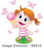 #56510 Royalty-Free (Rf) Clip Art Illustration Of A Happy Little Girl Holding Up An Ice Cream Cone To Pink Butterflies
