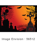 #56512 Royalty-Free (Rf) Clip Art Illustration Of An Orange Halloween Background With Grunge Webs Tombstones And Bats