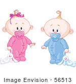 #56513 Royalty-Free (Rf) Clip Art Illustration Of A Baby Girl And Boy Dragging A Stuffed Bunny