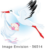 #56514 Royalty-Free (Rf) Clip Art Illustration Of A Beautiful Stork Delivery A Baby Girl