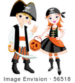 #56518 Royalty-Free (Rf) Clip Art Illustration Of A Boy And Girl In Pirate Halloween Costumes
