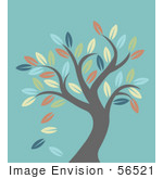 #56521 Royalty-Free (Rf) Clip Art Illustration Of A Leafy Autumn Tree Over Turquoise