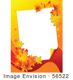 #56522 Royalty-Free (Rf) Clip Art Illustration Of A White Text Box Framed With Colorful Autumn Leaves On Orange