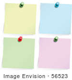 #56523 Royalty-Free (Rf) Clip Art Illustration Of A Digital Collage Of Four Memos Pinned To A Wall; Yellow Blue Green And Pink