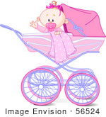 #56524 Clip Art Illustration Of A Waving Baby Girl With A Blanket And Pacifier In A Carriage by pushkin