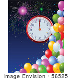 #56525 Royalty-Free (Rf) Clip Art Illustration Of A New Year Clock At Midnight Over A Blue Sky With Fireworks And Colorful Party Balloons by pushkin