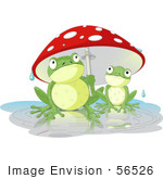 #56526 Clip Art Illustration Of An Adult Frog Holding A Mushroom Umbrella Over A Baby Frog On A Rainy Day by pushkin