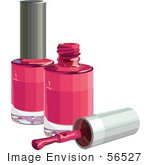 #56527 Royalty-Free (RF) Clip Art Illustration Of A Brush Resting By Two Bottles Of Pink Nail Polish by pushkin