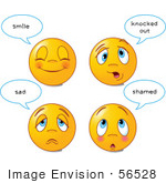 #56528 Royalty-Free (Rf) Clip Art Illustration Of A Digital Collage Of Four Happy And Sad Emoticon Faces With Statements by pushkin