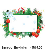 #56529 Royalty-Free (Rf) Clip Art Illustration Of A Christmas Text Box With Garland Candy Canes Baubles And Snowflakes by pushkin