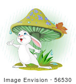 #56530 Clip Art Illustration Of A Wild White Bunny Rabbit Standing Under A Mushroom Reaching Out To Catch Rain Drops In His Hand by pushkin