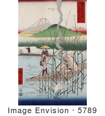 #5789 Photo Of Herons Near Men With Rafts On The Sagami River With A View Of Mt Fuji Japan