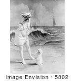 #5802 Woman On Beach With Dog