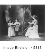 #5813 Woman Playing Harp, Children Singing by JVPD